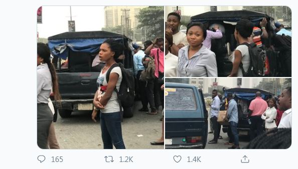 Police van serves as commercial vehicle in Lagos (Photos)