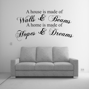 A HOUSE IS MADE OF WALLS Amp BEAMS WALL ART QUOTE STICKER BEDROOM LOUNGE DECAL