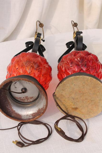 60s Vintage Retro Flame Red Glass Lamps W Gothic Black