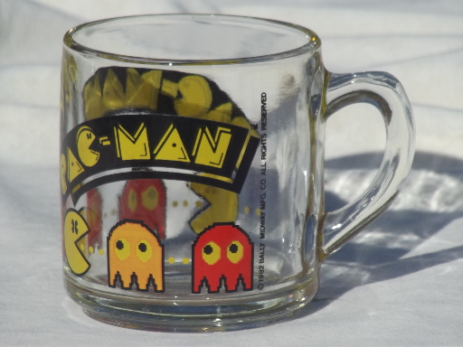 80s Vintage Pac Man Mug Retro Libbey Glass Coffee Cup Dated 1982