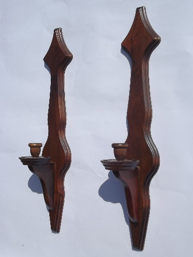 Colonial Wood Wall Sconces W Hurricane Candle Shades