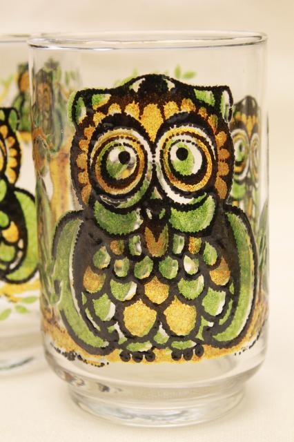 Retro Owl Print Libbey Glass Drinking Glasses Vintage