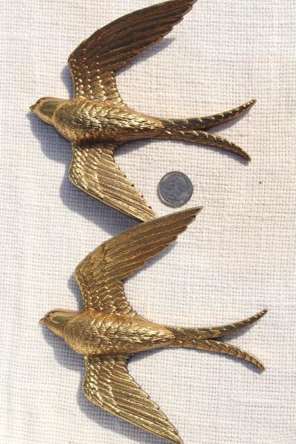 Vintage Burwood Gold Birds Flock Of Flying Swallows 80s
