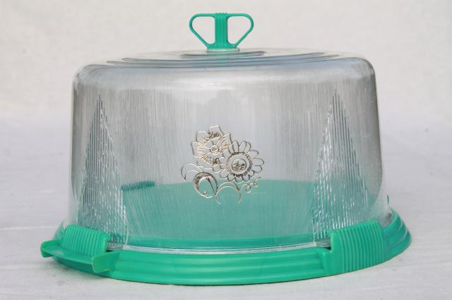 Vintage Aqua Turquoise Blue Plastic Cake Keeper Saver Cake Plate W Clear Dome Cover