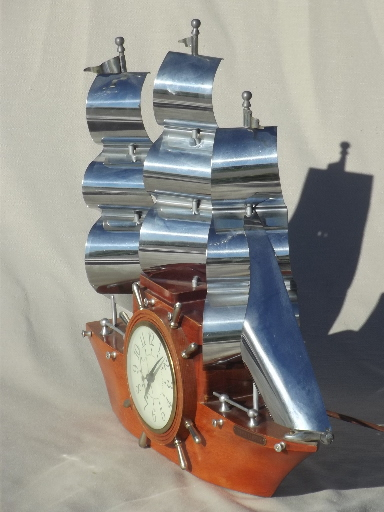 Vintage Sessions Ship Clock Old Yankee Clipper Ship Electric Clock