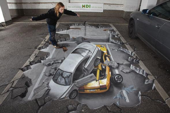 3D Cars Pavement Art 3