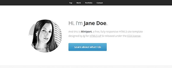free responive web template html css Miniport