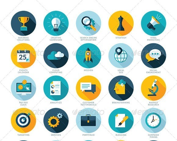 Flat Design SEO Services Icons