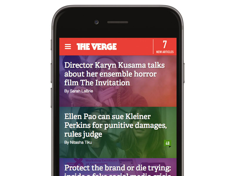 The Verge is a perfect example of tapable space and finger friendly buttons, read post titles with illustrations.