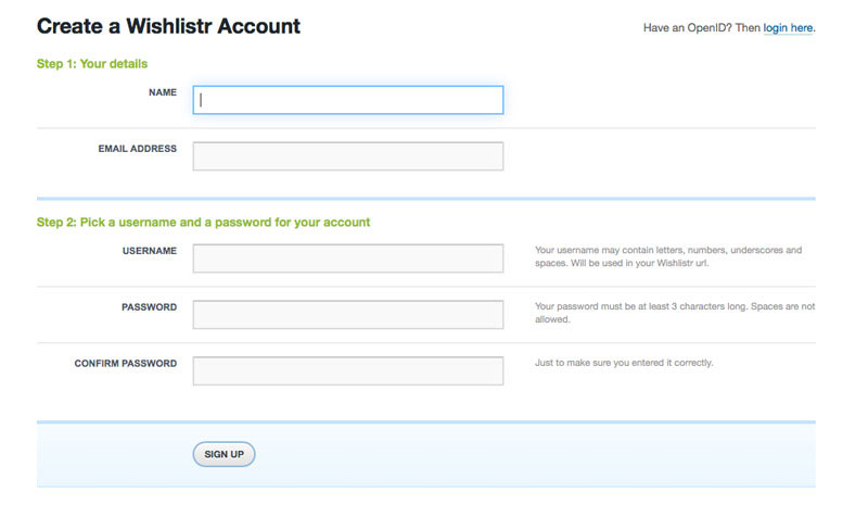 Wishlistr sign up form