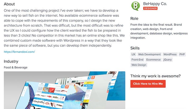 BeHappy Co. links to the finished website as everybody should on his portfolio page.