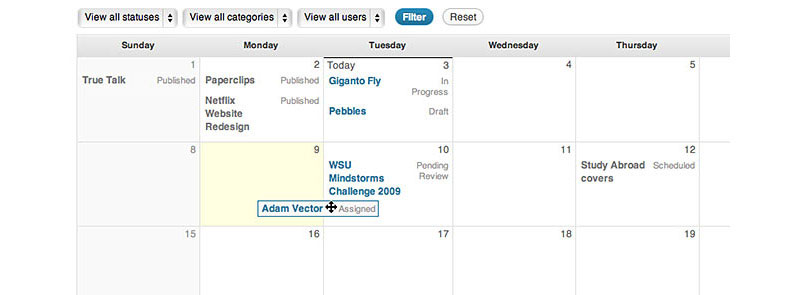 Add editorial calendar to your WordPress dashboard.