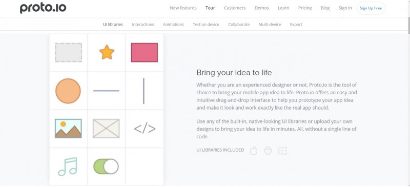 Proto.io helps designers communicate complex interaction patterns in an iterative and fast design process
