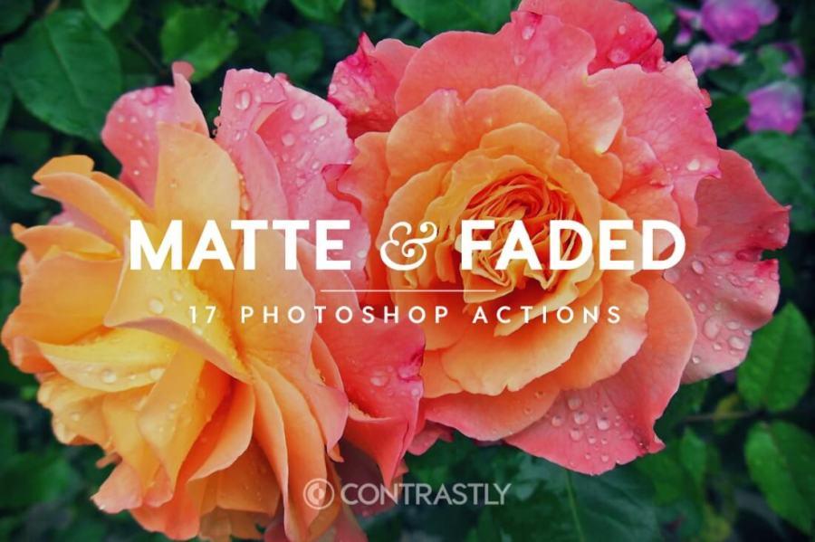 Matte Faded Photoshop Action Bundle Contrastly