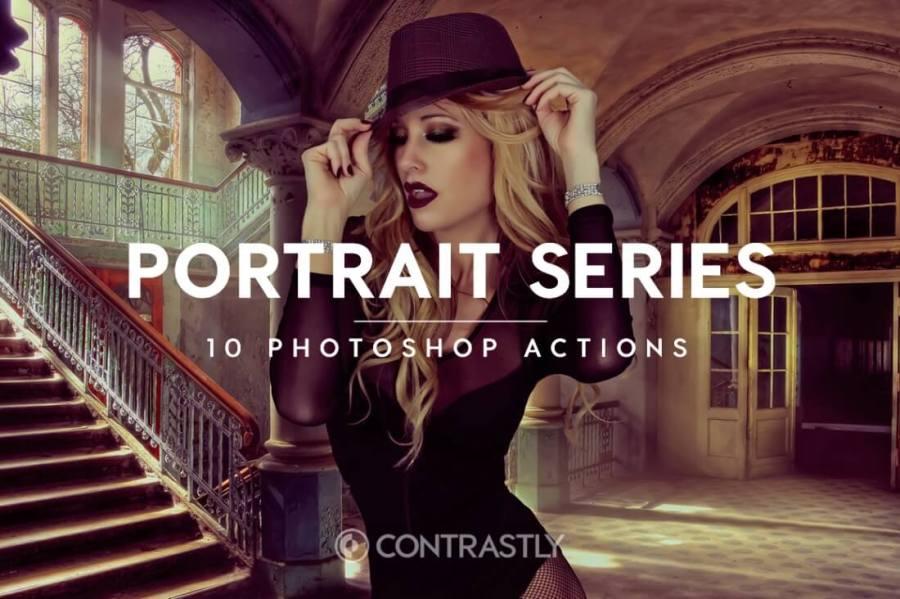 Portrait Series Photoshop Action Bundle Contrastly