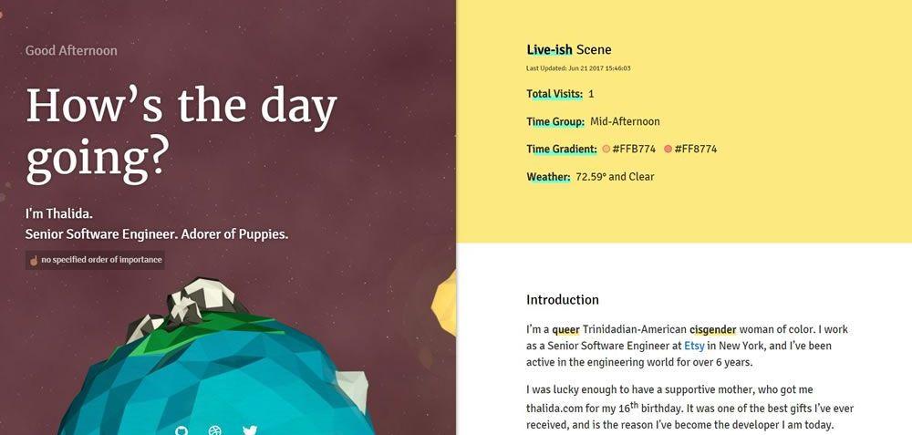 Thalida split screen web design layout