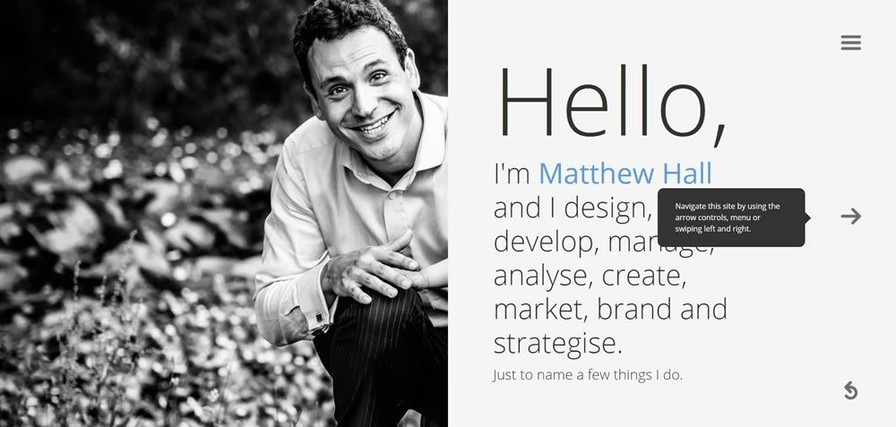 Matthew Hall split screen web design layout