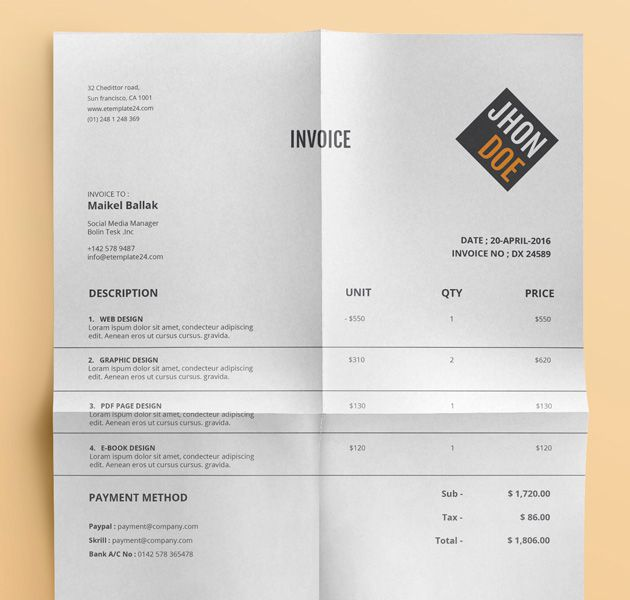 Beautiful Free Diamond Yellow Invoice Templates for Creatives
