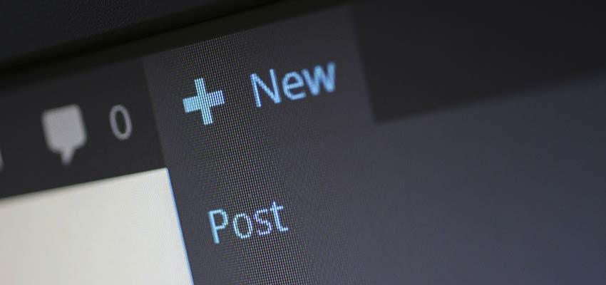 WordPress new post menu.