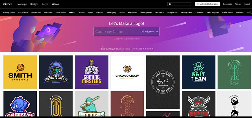 Placeit logos cover a variety of industries and styles.