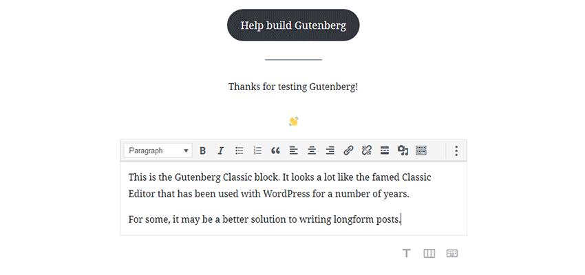 The Classic block in Gutenberg.