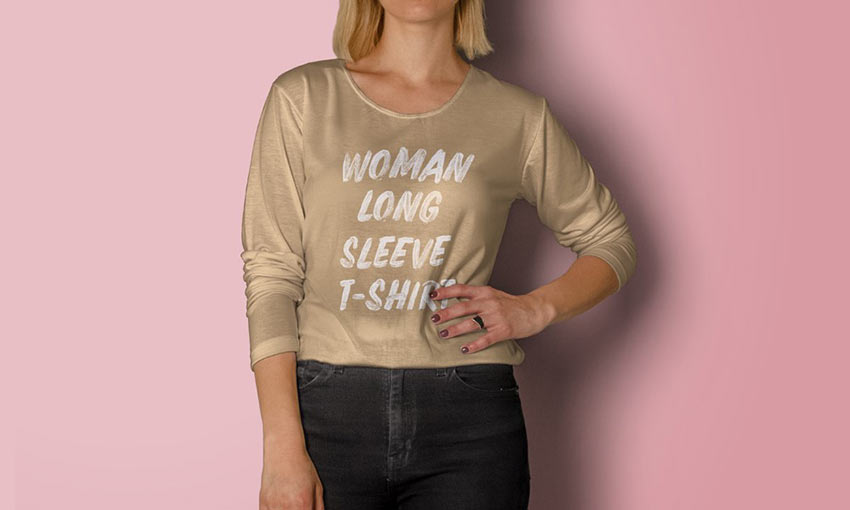 Psd Woman Long Sleeve T-Shirt Mockup