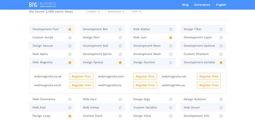 View Matching Domains with Business Name Generator