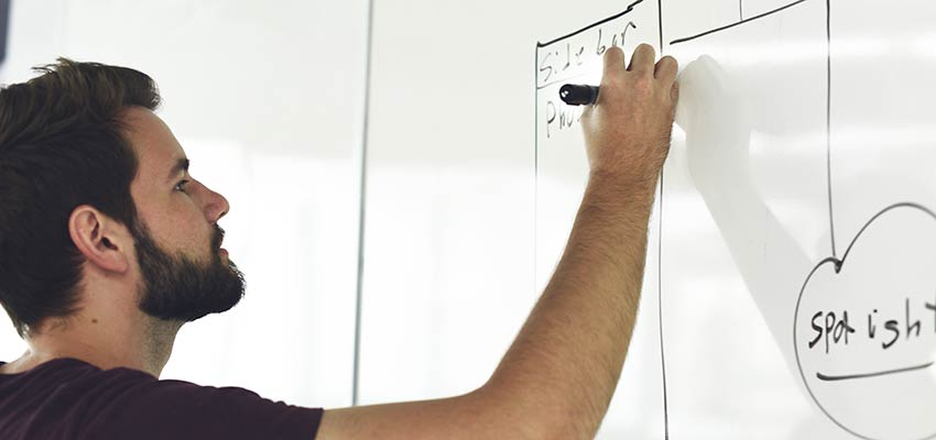 Man creating a flow chart on a whiteboard.