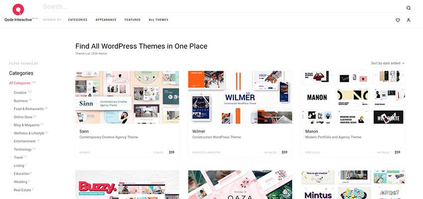 Qode Interactive theme catalog