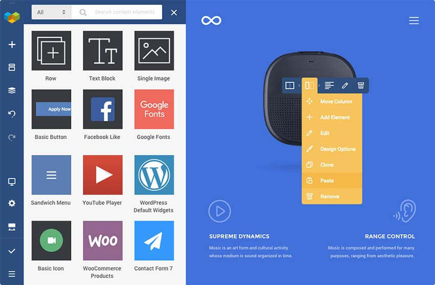 Screen from Visual Composer Website Builder