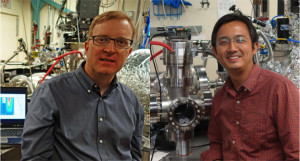 Robert Kaindl (left) and He Wang (right) with the high repetition-rate femtosecond XUV light source developed at Berkeley Lab.
