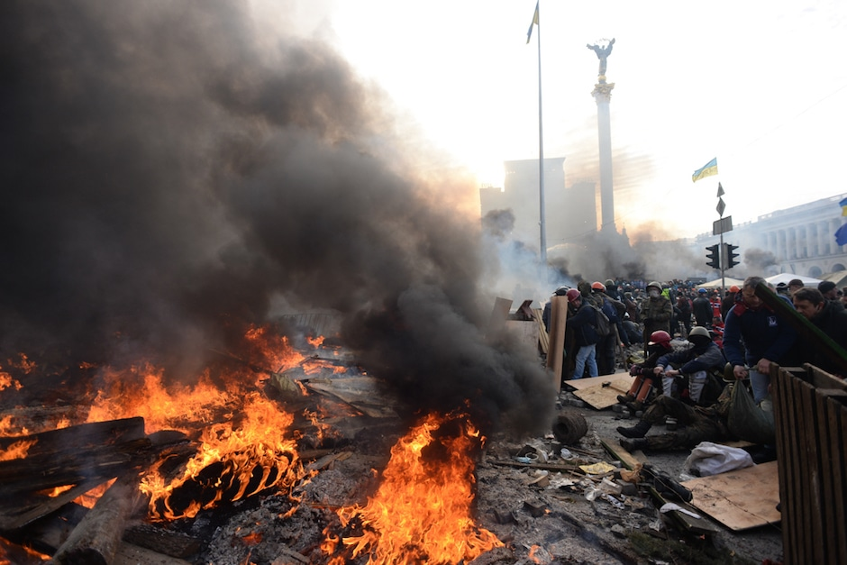 Independence square during clashes in Kyiv, Ukraine. Events of February 19, 2014.
