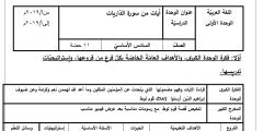 التحضير الجديد لمادة اللغة العربية للصف السادس كاملاً – الفصل الأول