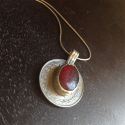 Red Kuchi Coin Neckalce with Snake Chain