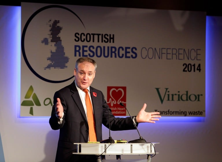 Environment Secretary Richard Lochhead speaking today at the Scottish Resources Conference in Glasgow