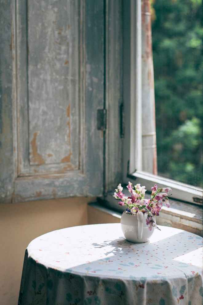 blooming flowers in vase on table at home