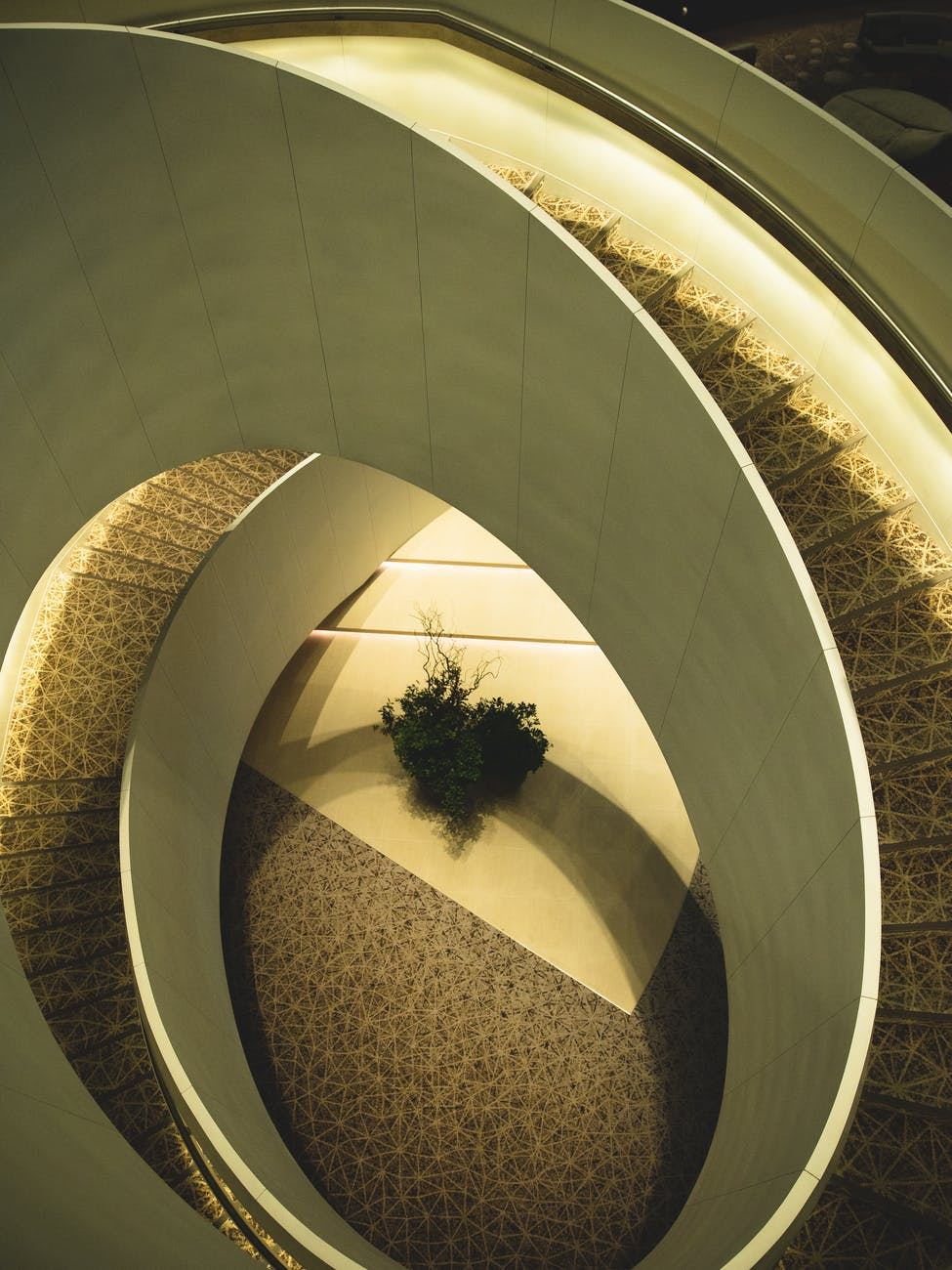 spiral stairway of modern hall in contemporary building