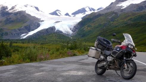 The R1200GS Adventure dwarfs the Worthington Glacier.