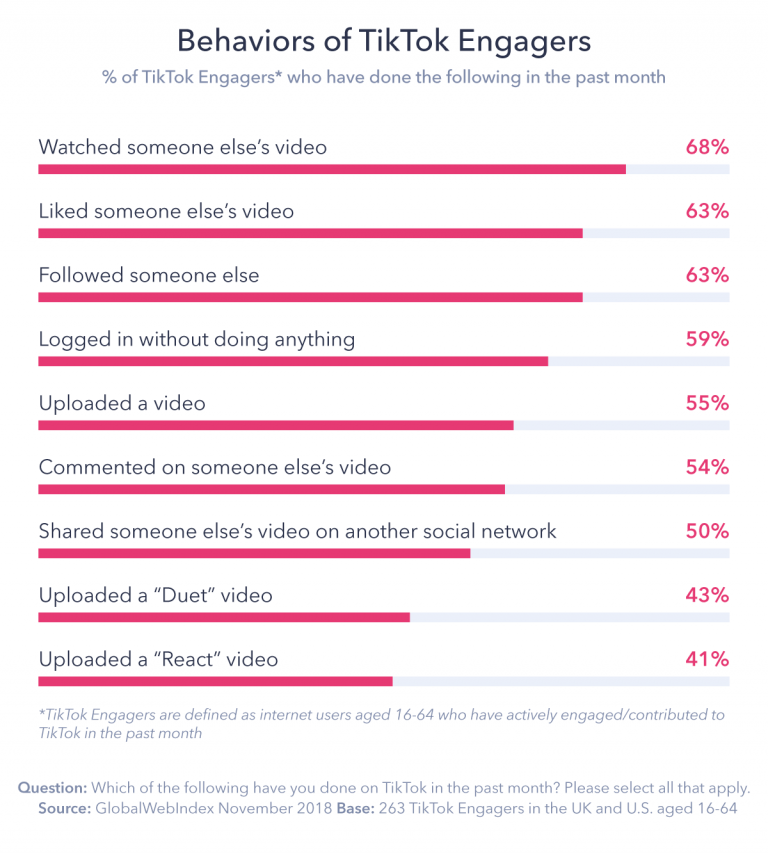 In what activities do TikTok users engage?