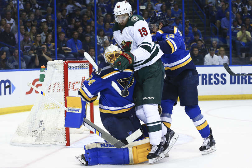 c0d586faa Martin Hanzal rams through Jake Allen in Game 3, but to no effect. (Photo  by Dilip Vishwanat/Getty Images)
