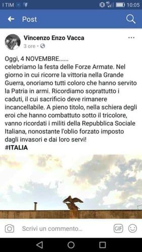 Il post su facebook dell'assessore Enzo vacca di carovigno, inneggiante alla Repubblica sociale italiana-2
