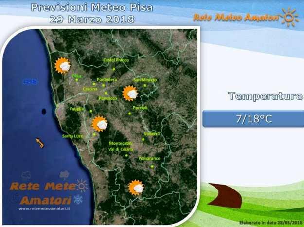 Previsioni meteo a Pisa: giornata di nuvole