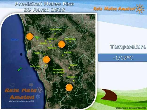 Previsioni meteo a Pisa: giornata di sole