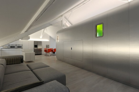 Airstream Inspired Living: Kempart Loft with Aluminum Pod by Dethier Architectures in interior design architecture Category