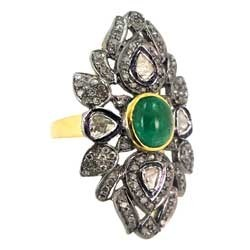 Emerald Studded Diamond & 14K Gold Ring
