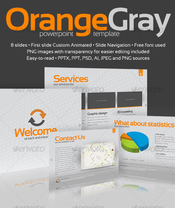 Orange Gray Powerpoint Template - GraphicRiver Item for Sale