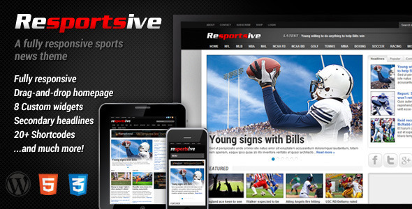Resportsive - Responsive Sports News Theme - ThemeForest Item for Sale