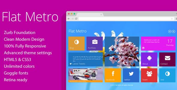 Flat Metro – Responsive WordPress Theme free download – themeforestclone