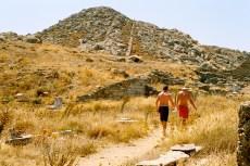 Making the trek up Mt. Kythnos, a surprisingly rugged walk.