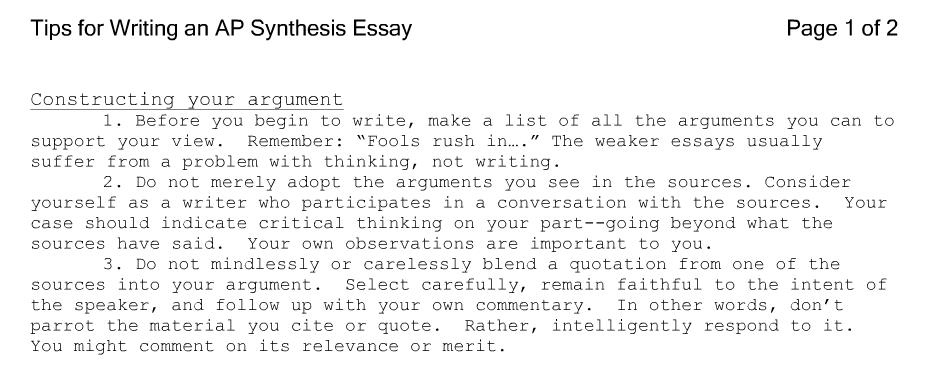 Ap Synthesis Essay Outline | Docoments Ojazlink